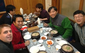 enjoying the famous ginseng soup with our Korean CCC leaders